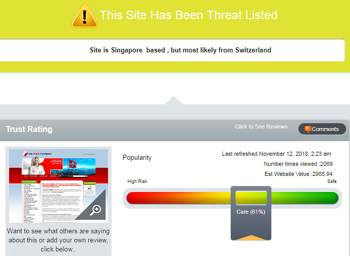 threat listed site