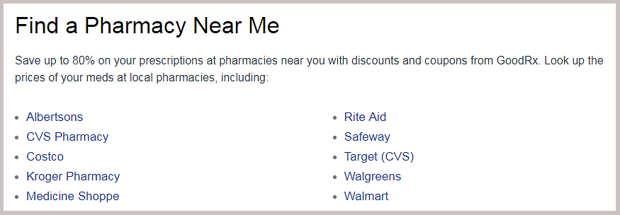 local pharmacies